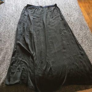 Satin black zara long skirt